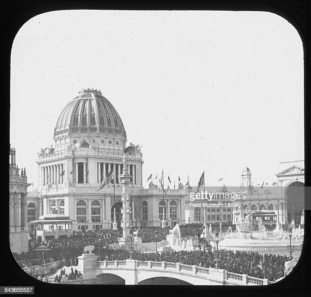 View of crowds outside the Administration Building during Chicago Day at the World's Columbian Exposition Chicago Illinois October 9 1893