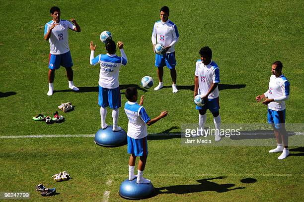 View of Cruz Azul players in action during a training session at the Azul Stadium on January 28, 2010 in Mexico City, Mexico.