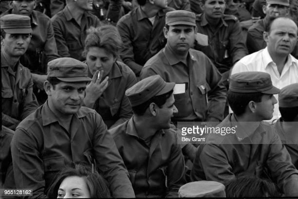 View of Cuban soldiers in the audience in la Plaza de la Revolucion during the 10th anniversary celebration of the Cuban Revolution Havana Cuba...