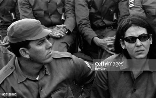 View of Cuban soldiers in the audience in la Plaza de la Revolucion during the 10th anniversary celebration of the Cuban Revolution Havana Cuba...