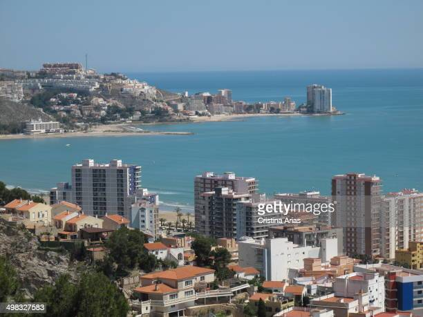 View of Cullera and its urbanism with the apartment buildings almost touching the sea and the houses occupy all the elevations of the terrain...