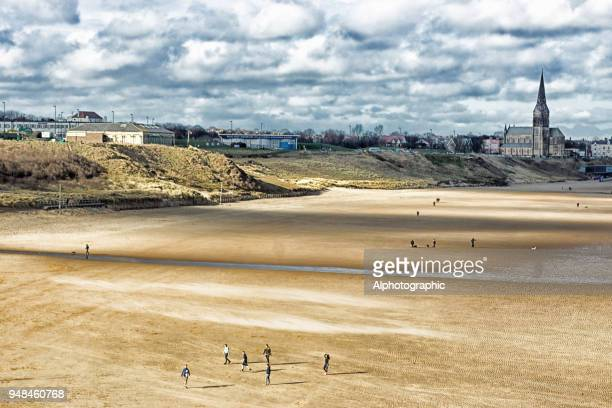 a view of cullercoats from tynemouth. - whitley bay stock pictures, royalty-free photos & images