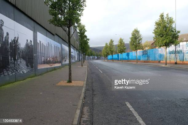 A view of Cupar Way which runs between the peace line dividing the Protestant and Catholic communities on October 30 2019 in Belfast United Kingdom...