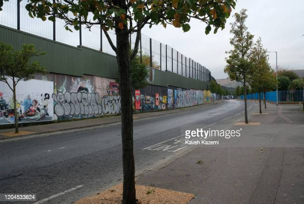 A view of Cupar Way which runs between the peace line dividing the Protestant and Catholic communities on October 30 2019 in Belfast United Kingdom