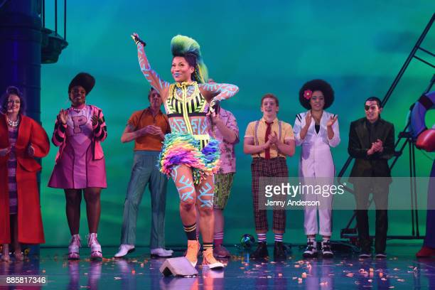 A view of curtain call during opening night of Nickelodeon's SpongeBob SquarePants The Broadway Musical at Palace Theatre on December 4 2017 in New...