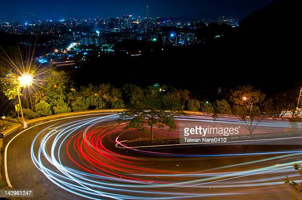 View of Curve road at night