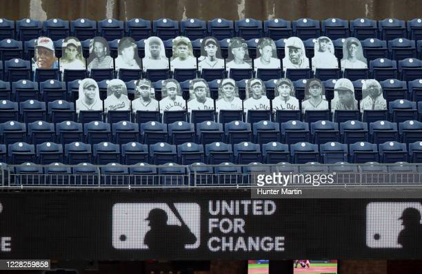 View of cut-outs of African-American players from the Negro Leagues are displayed in left field during a game between the Philadelphia Phillies and...