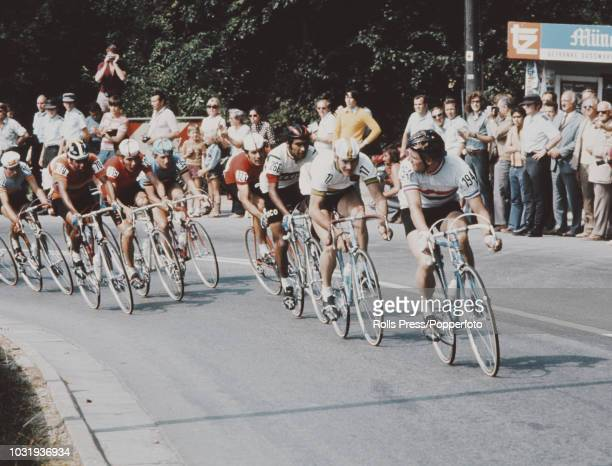 View of cyclists competing in the Men's individual road race cycling event at the 1972 Summer Olympics in Munich West Germany on 7th September 1972...