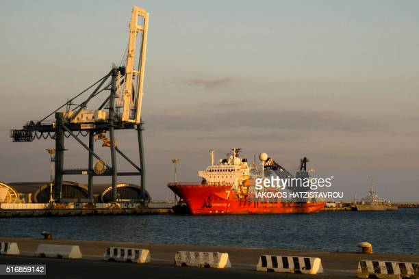 A view of Cyprus's largest port in the Mediterranean city of Limassol on March 21 2016 Dockers in Cyprus's second city of Limassol went on strike in...