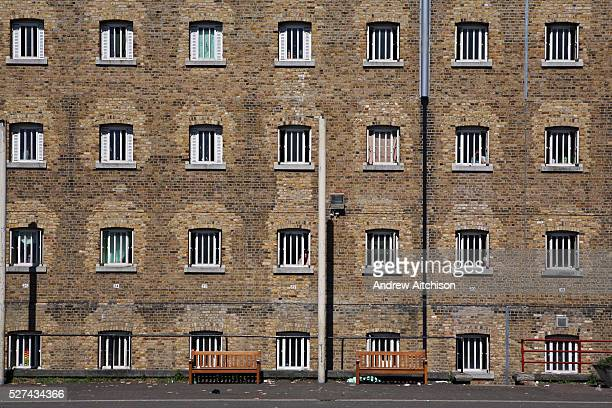 A view of D wing from the exercise yard at Wandsworth Prison HMP Wandsworth in South West London was built in 1851 and is one of the largest prisons...