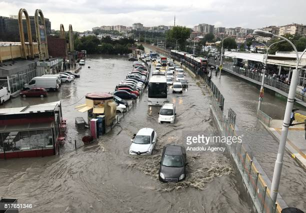 A view of D100 highway after heavy rains hit Merter neighborhood of Istanbul Turkey on July 18 2017