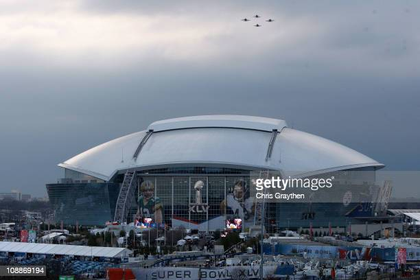 View of Dallas Cowboys Stadium as jets flyover prior to Super Bowl XLV at Cowboys Stadium on February 6, 2011 in Arlington, Texas.