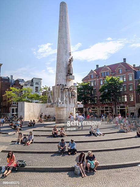 view of  Dam Square in summer Amsterdam  the Netherlands