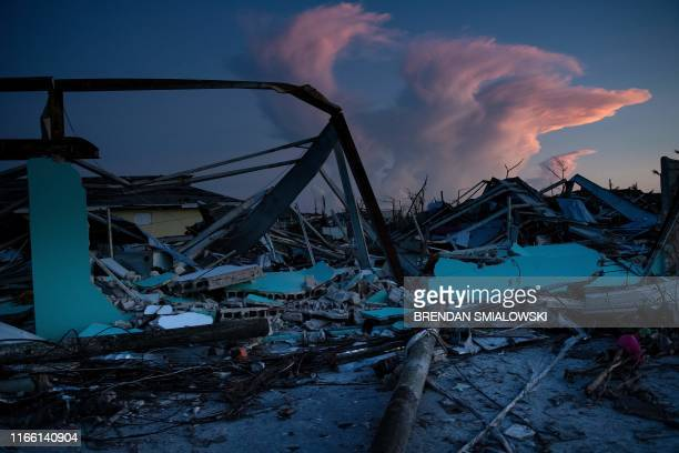 TOPSHOT A view of damage from Hurricane Dorian on September 5 in Marsh Harbor Great Abaco Bahamas The death toll from Hurricane Dorian has risen to...