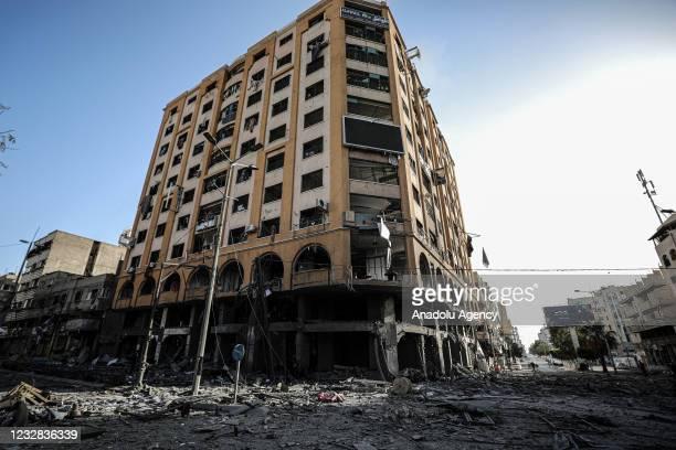 View of damaged 9-storey Al Jawhara Tower after it was hit by Israeli warplanes in Gaza Strip, in Gaza City, Gaza on May 12, 2021.