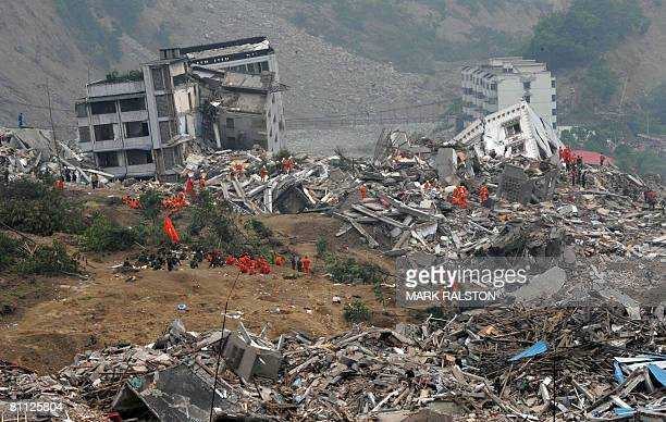 View of damaged and destroyed buildings in the earthquake damaged town of Beichuan in Sichuan Province on May 17 2008 Beichuan is one of the areas...