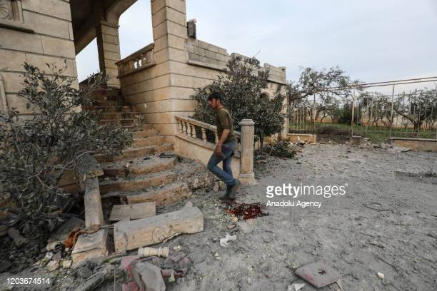 A view of damaged building after Assad regime attacks in residential area in Idlib Syria on February 27 2020 11 civilians including 5 children and 3...