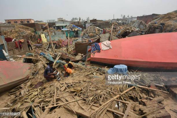 A view of damaged houses after Cyclone Fani at Penthakota fishermen colony on May 4 2019 in Puri India At least 12 people are reported to have died...