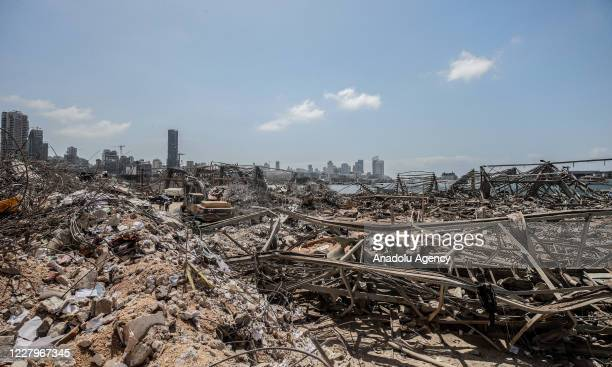 View of damaged site is seen as search and rescue with rubble removal operations continue after a fire at a warehouse with explosives at the Port of...