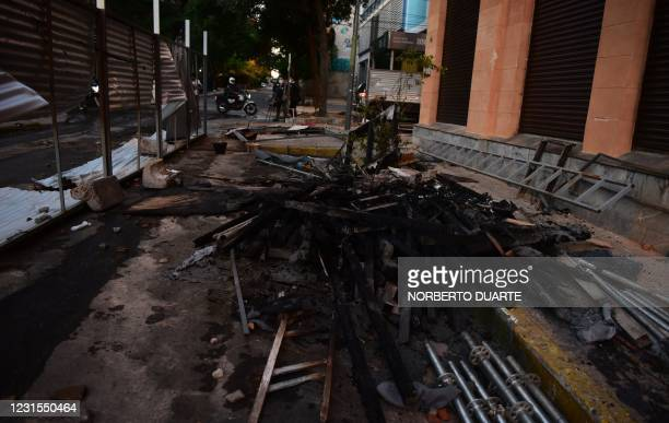 View of damages at the Ministry of Finance a day after protesters set it on fire during a protest against corruption and lacks in the health system,...