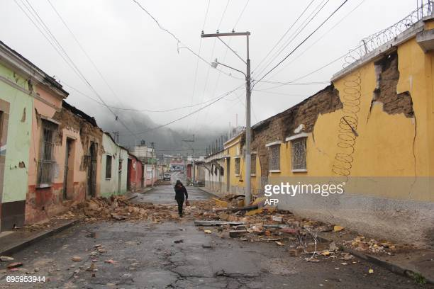 View of damages caused by an earthquake in Quetzaltenango 220 km from Guatemala City on June 14 2017 A strong 69 magnitude earthquake hit western...