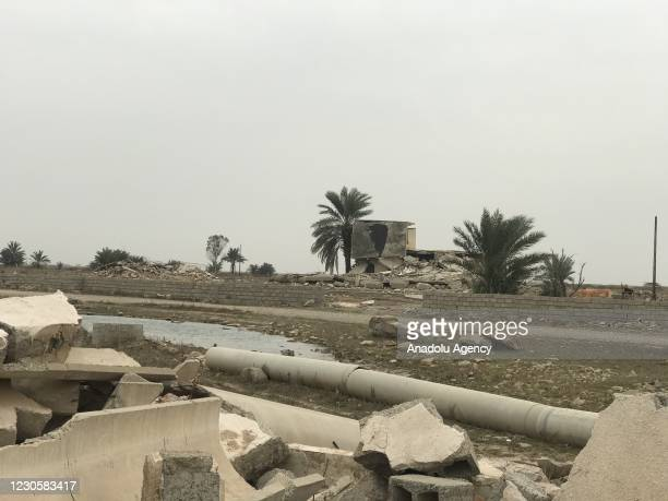View of damages in a village in the Kirkuk province of Iraq on January 14, 2021. According to Tahrir Obaidi, a member of the Kirkuk Arab Assembly,...