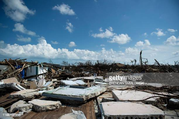 TOPSHOT A view of damages left by Hurricane Dorian September 5 in Marsh Harbor Great Abaco Hurricane Dorian lashed the Carolinas with driving rain...