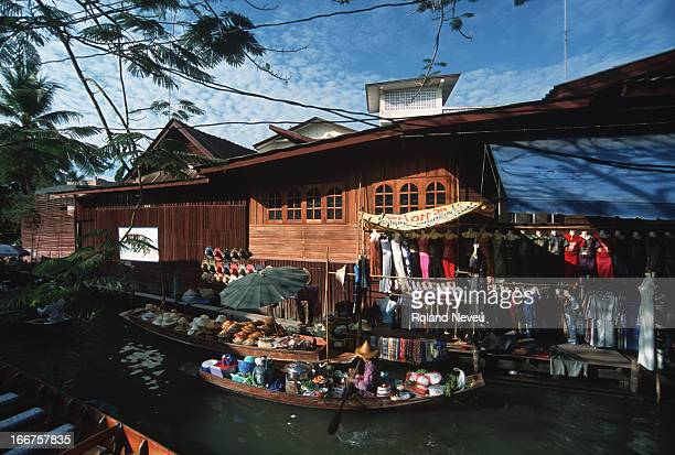 A view of Damnoen Saduak floating market in a provincial district of Ratchaburi near Bangkok Thailand