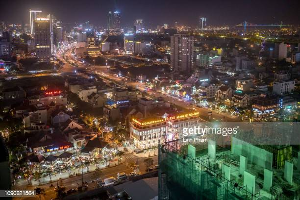 A view of Danang city from the top of an hotel at night on January 26 2019 in Danang Vietnam Vietnam appears to be the leading contender to host the...