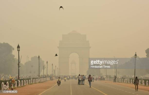 View of dangerous smog and fog weather at Rajpath Near India Gate on November 4, 2020 in New Delhi, India.