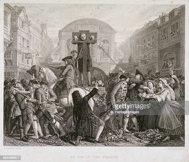 View of Daniel Defoe in the pillory at Temple Bar, London, c1840?, surrounded by a crowd.