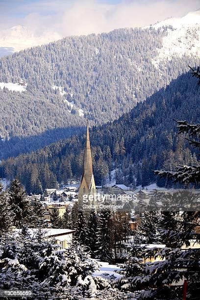 View of Davos in winter, Grisons, Switzerland