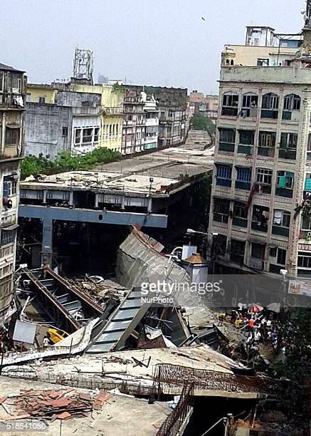 A view of debris of partially collapsed overpass in Kolkata on April 12016At least 22 people have been killed and several injured after an under...