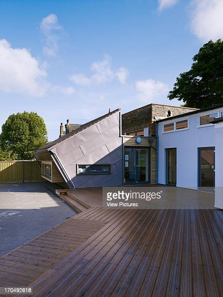 View of decked area with extension Dulwich Village Infant School London United Kingdom Architect Cazenove Architects 2012