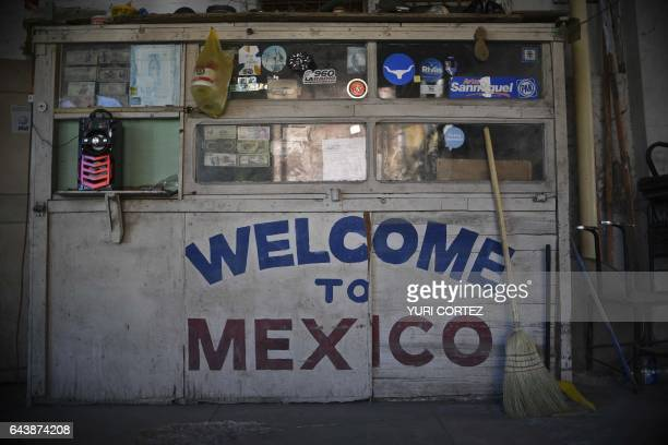 View of decorated main entrance at a parking lot near to the international bridge on the US/Mexico border in Nuevo Laredo Tamaulipas state Mexico on...