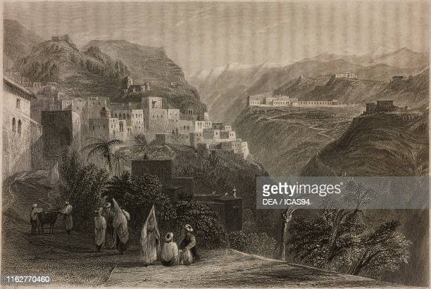 View of Deir elQamar in the background the buildings of Beit edDine Lebanon engraving by T A Prior after a drawing by W H Bartlett from La Siria e...