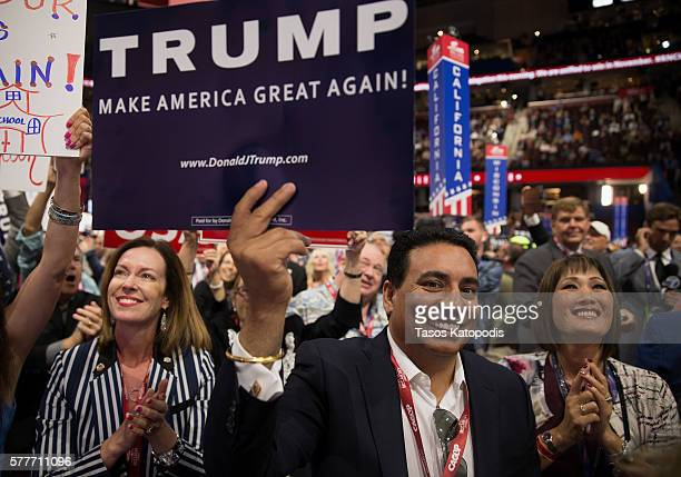 View of delegates on the second day of the Republican National Convention on July 19, 2016 at the Quicken Loans Arena in Cleveland, Ohio. An...