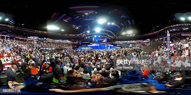 A 360 view of delegates watching former NAACP President Ben Jealous delivers a speech on the first day of the Democratic National Convention at the...