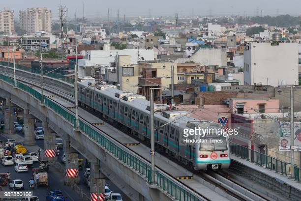 A view of Delhi metro's newly inaugurated green line metro line which opened for commuters travelling from Mundka to City Park Metro Station on June...