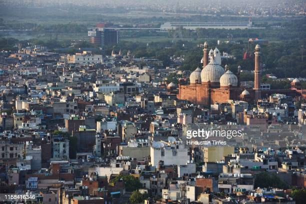 View of Delhi's skyline with the Jama Masjid visible on a clear evening on July 29, 2019 in New Delhi, India. On Monday System of Air Quality and...