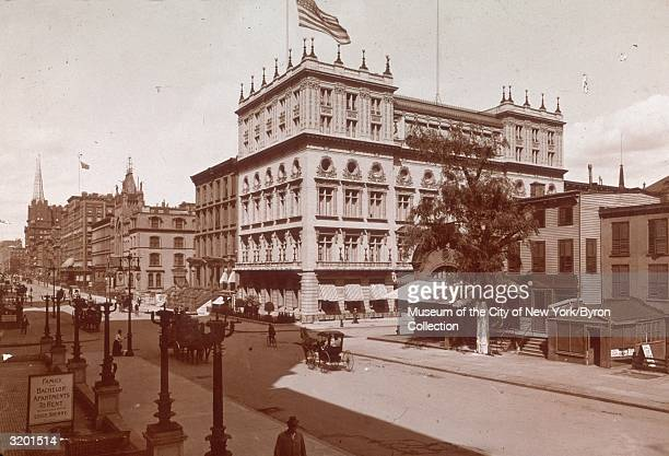 View of Delmonico's restaurant located in the Delmonico building on the northeast corner of Fifth Avenue and 44th Street in New York City Fifth...