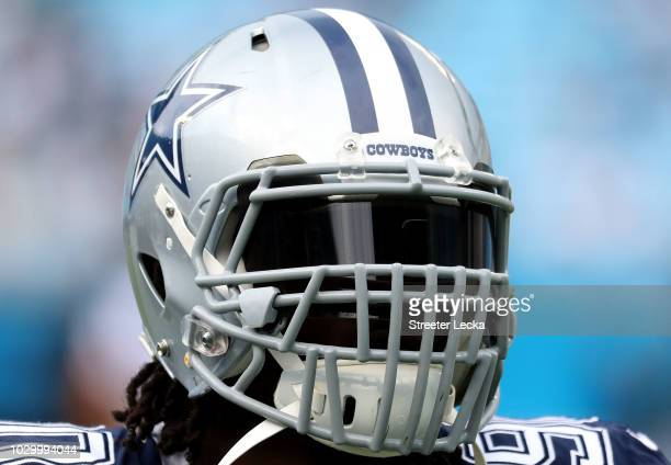 A view of Demarcus Lawrence of the Dallas Cowboys helmet during warm ups before their game against the Carolina Panthers at Bank of America Stadium...