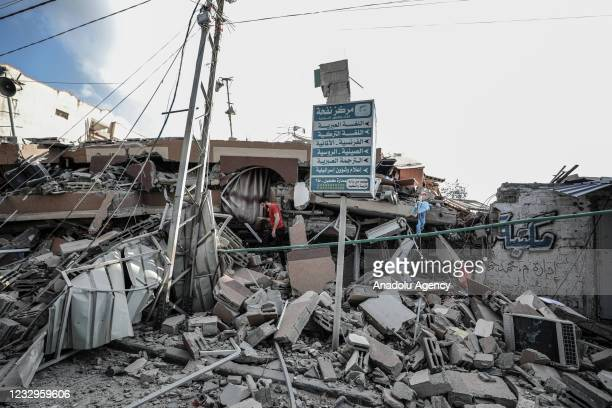 View of demolished 6-storey building in al-Rimal neighborhood after Israeli warplanes carried out airstrikes in Gaza City, Gaza on May 18, 2021.