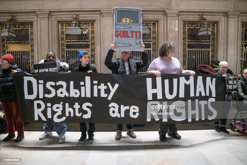Demonstrators At Non-March For Disabled Women : News Photo
