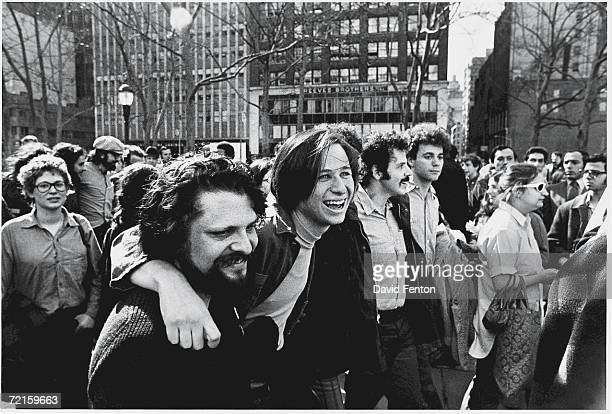 View of demonstrators at a gay liberation rally, New York, New York, April 15, 1970.