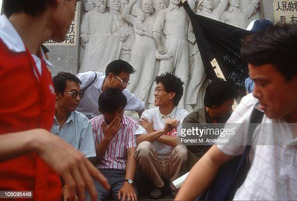 View of demonstrators gathered in Tiananmen Square among them singercomposer Hou Dejian literary critic Liu Xiaobo and sociologist Zhou Duo Bejing...
