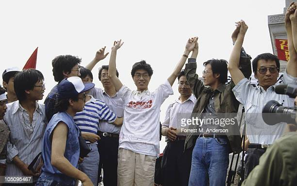 View of demonstrators gathered in Tiananmen Square among them singercomposer Hou Dejian sociologist Zhou Duo and literary critic Liu Xiaobo Bejing...