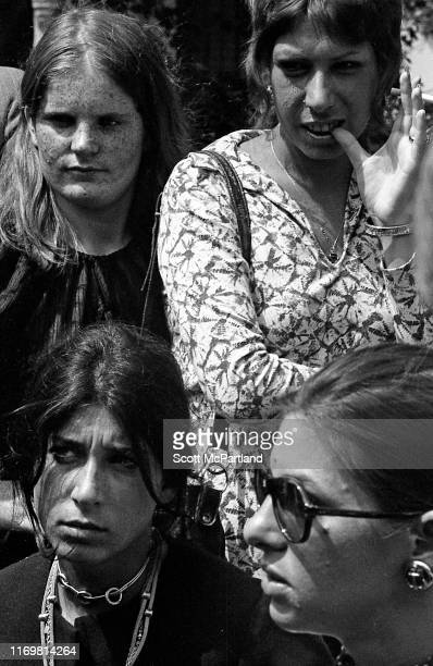 View of demonstrators in the crowd during the 'Women's Strike For Equality' event in City Hall Park New York New York August 26 1970 The event...