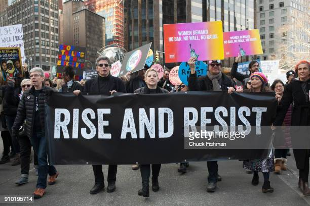 View of demonstrators many with signs at Columbus Circle during the Women's March on New York New York New York January 20 2018 Among the visible...