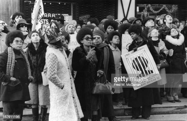 View of demonstrators outside of the Women's House of Detention New York New York December 20 1970